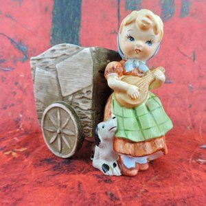 "Other - Vintage Girl Dog And Wagon Planter 5"" Porcelain"